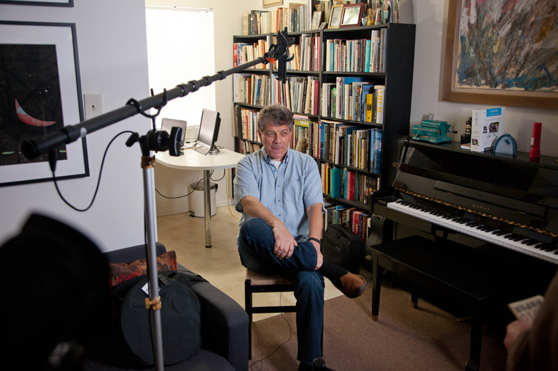 A behind-the-scenes look at one of the interviews in the film.